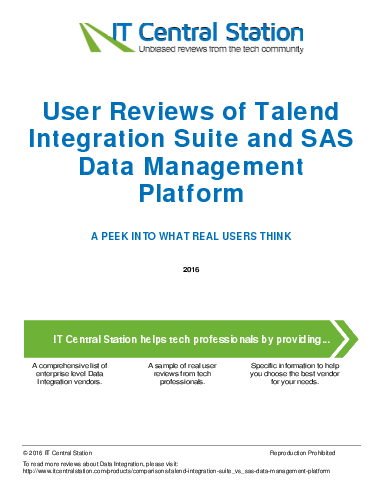 Compare Talend Integration Suite vs SAS Data Management ...