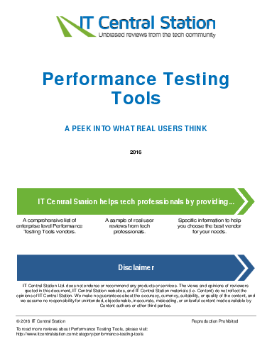 Performance testing tools report from it central station 2016 05 07q18