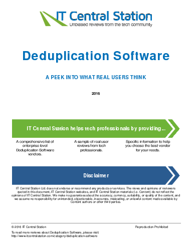 Deduplication software report from it central station 2016 07 09p1
