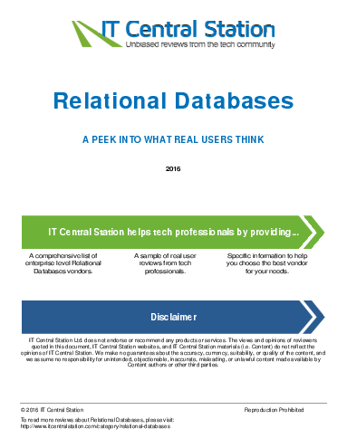 Relational databases report from it central station 2016 05 21q16